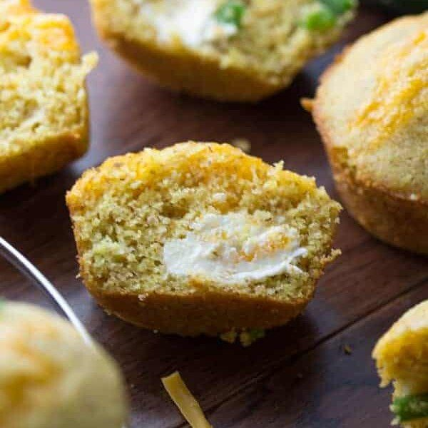 jalapeno popper cornbread muffins with butter
