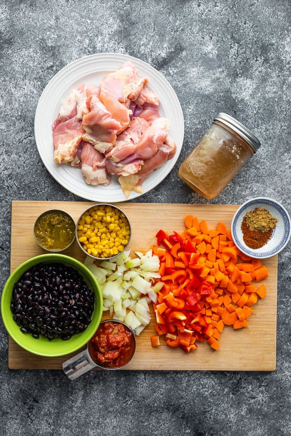 Ingredients for the stew chicken recipe