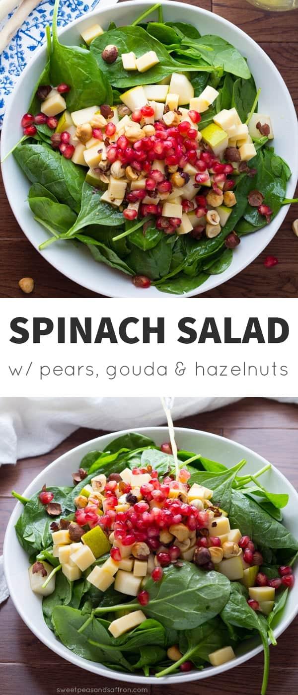 Gouda and Hazelnut Spinach Pear Salad