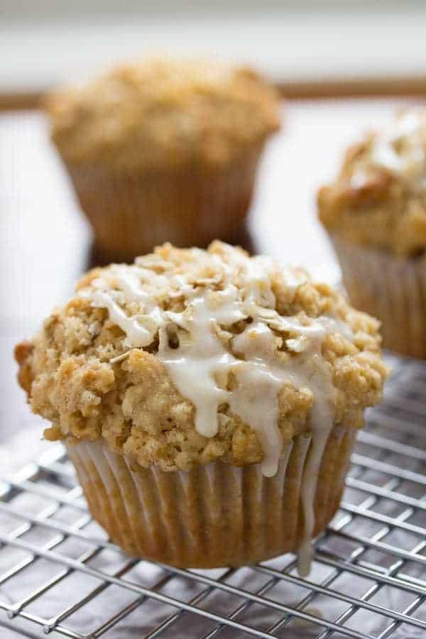 Glazed Maple Walnut Oatmeal Muffins