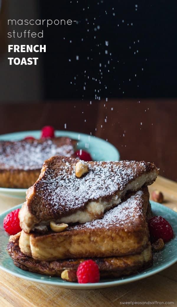 Mascarpone Stuffed French Toast (chocolate-espresso with hazelnuts and raspberries)