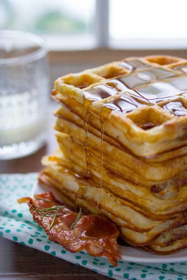 Ultra Crispy Overnight Bacon and Rosemary Yeasted Waffles