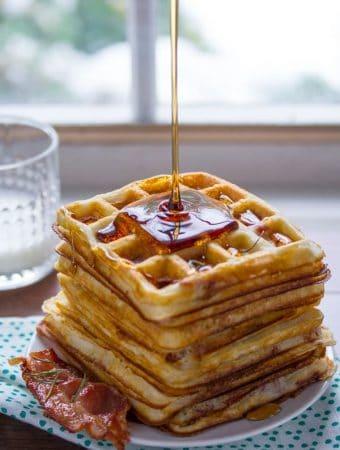 Crispy Overnight Yeast Waffles (Bacon & Rosemary)