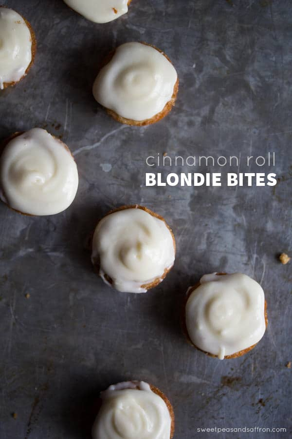 Cinnamon Roll Blondie Bites @sweetpeasaffron
