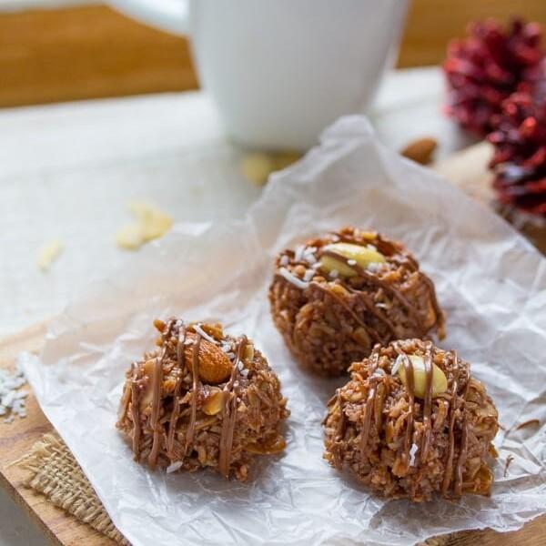 three no bake almond joy cookies on parchment