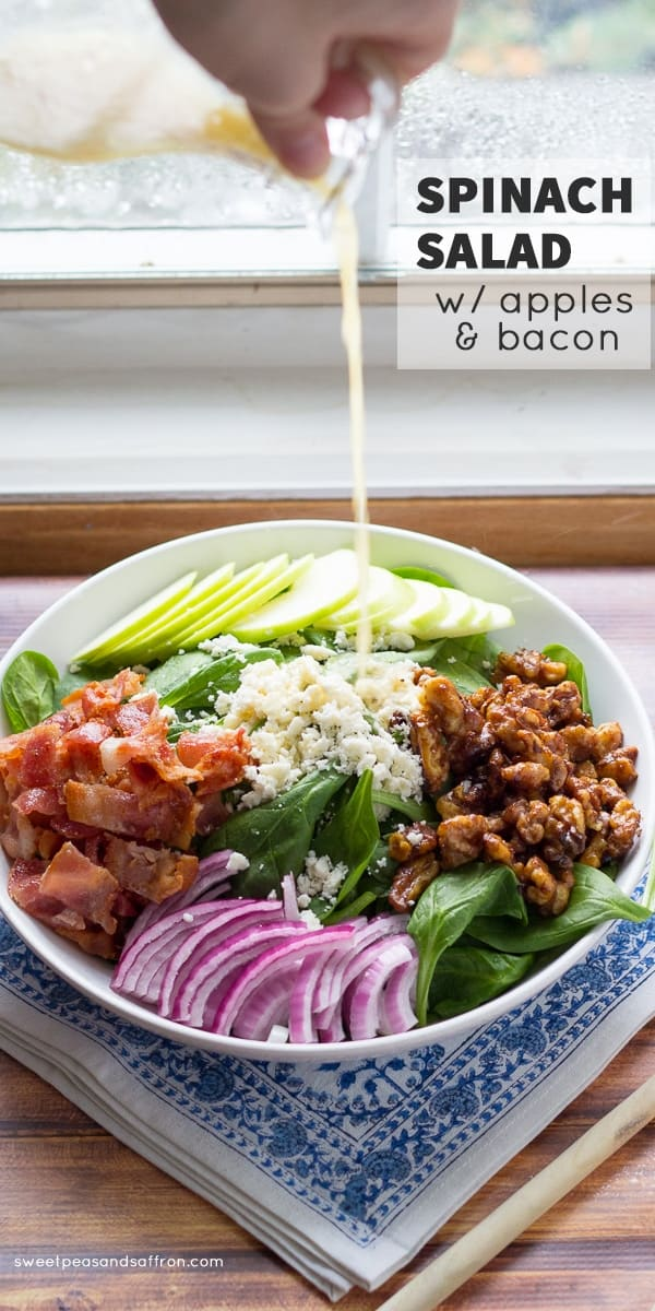Apple Bacon Spinach Salad with Spicy Maple Walnuts