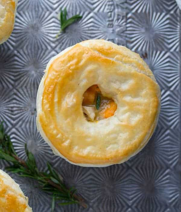 close up overhead view of Rosemary Sweet Potato Chicken Pot Pie with crust after baking