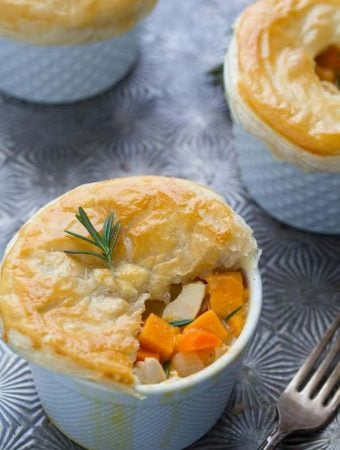 rosemary sweet potato chicken pot pies on metal tray
