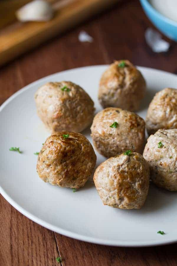 plate full of Feta-Stuffed Greek Turkey Meatballs