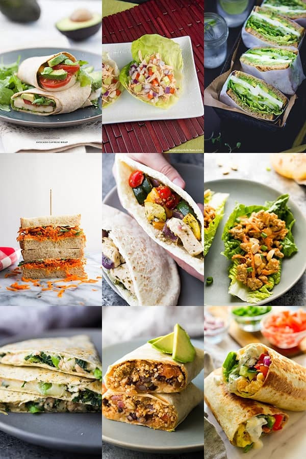 54 Healthy Lunch Ideas For Work- sandwiches and wraps