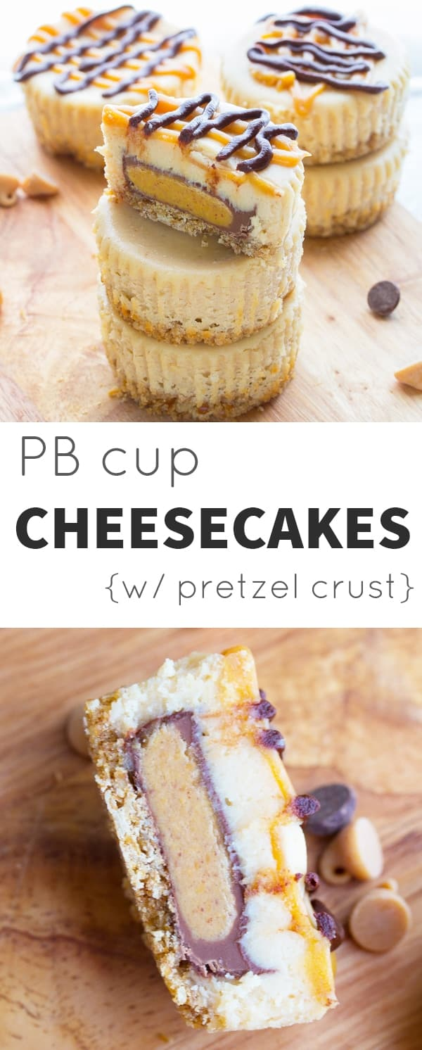 Mini Peanut Butter Cup Cheesecakes with a Pretzel Crust