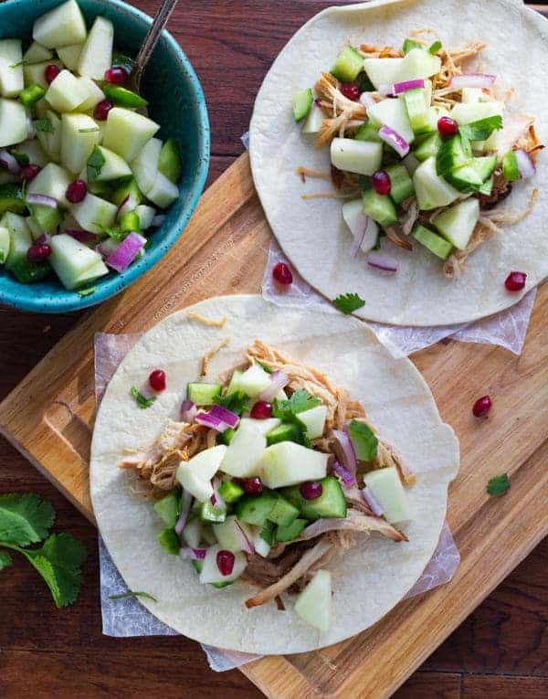 Slow Cooker Cider Carnitas with a Fresh Apple Salsa