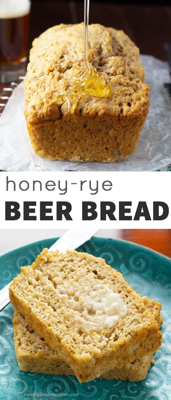 Honey-Rye Beer Bread, 7 ingredients and ready for the oven in under 15 minutes. sweetpeasandsaffron.com @sweetpeasaffron