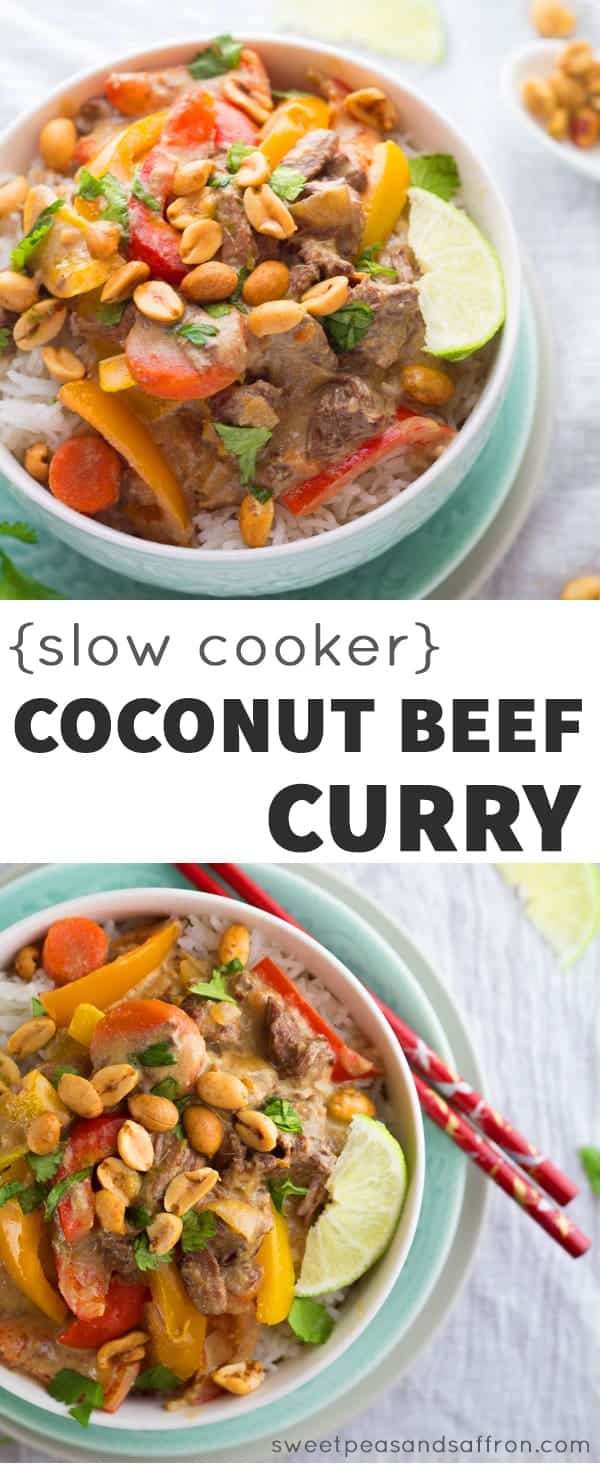 Slow Cooker Coconut Curry Beef with Lime Roasted Peanuts- this recipe cooks for 8-10 hours, making it a perfect week-night dinner! sweetpeasandsaffron.com @sweetpeasaffron