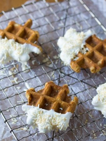 three carrot cake waffle bites on wire rack