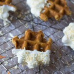 carrot cake waffle bites on wire rack