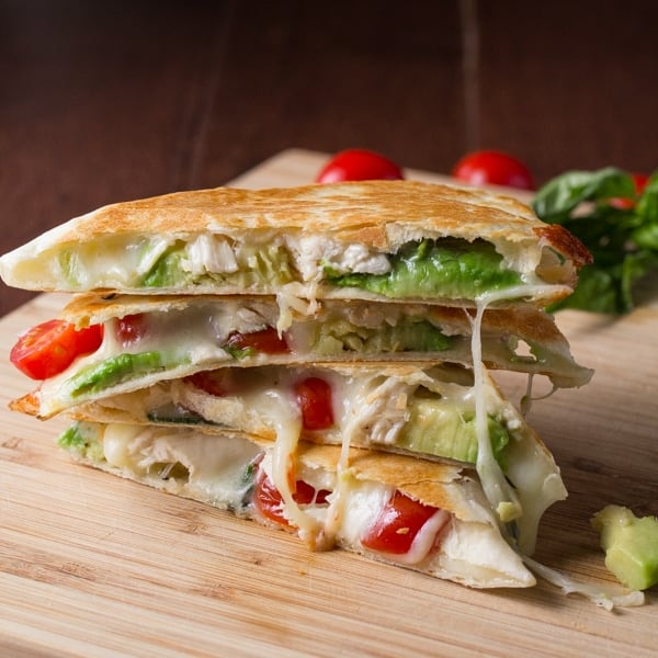 Avocado Caprese Chicken Quesadilla Recipe