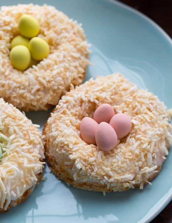 lemon coconut angel food cake donuts with little candies