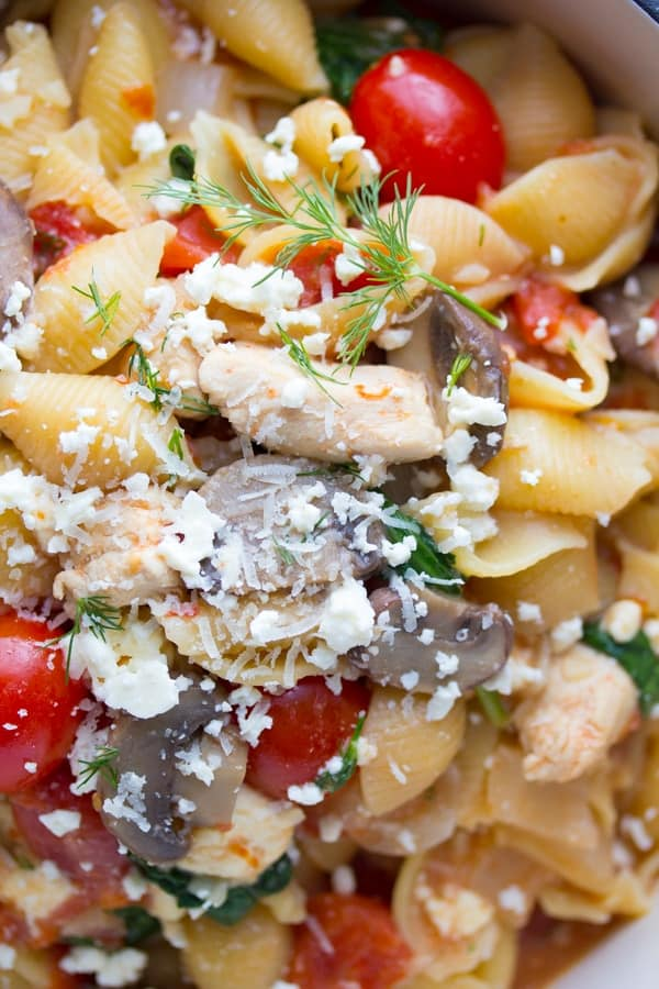 Close up overhead shot of One Pot Pasta with Chicken, Feta and Dill