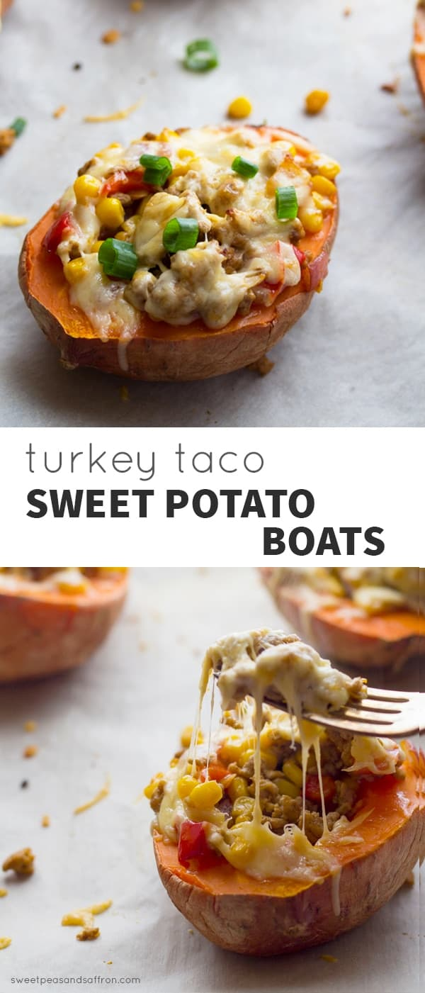 Baked sweet potatoes stuffed with spiced ground turkey, smoked gouda and corn! @sweetpeasandsaffron