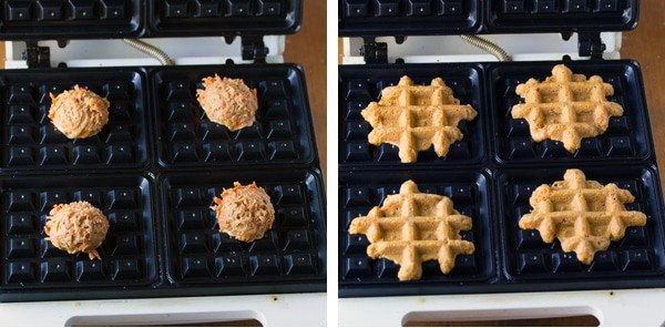 collage image showing before and after of cooking carrot cake waffle bites on waffle maker