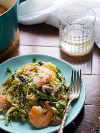 One Pot Shrimp Linguine With Spring Vegetables