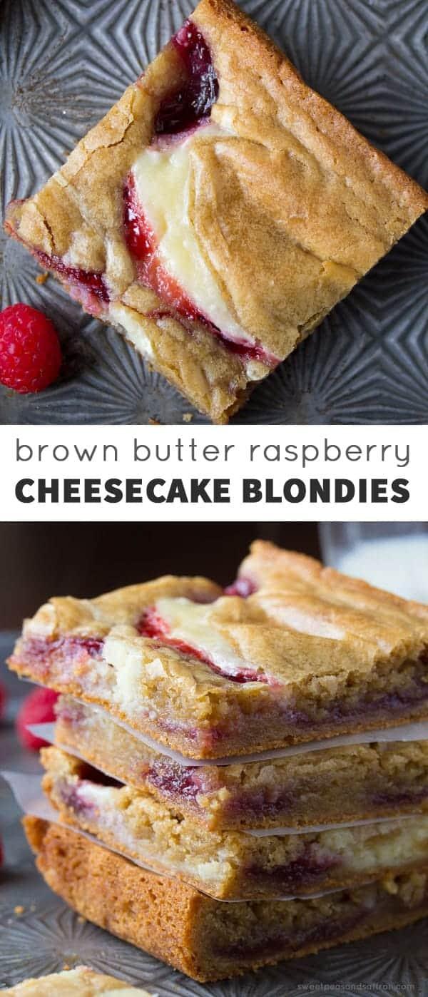 Brown Butter Raspberry Swirl Cheesecake Blondies @sweetpeasaffron