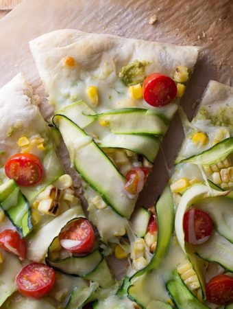 Guacamole Pizza With Corn & Zucchini