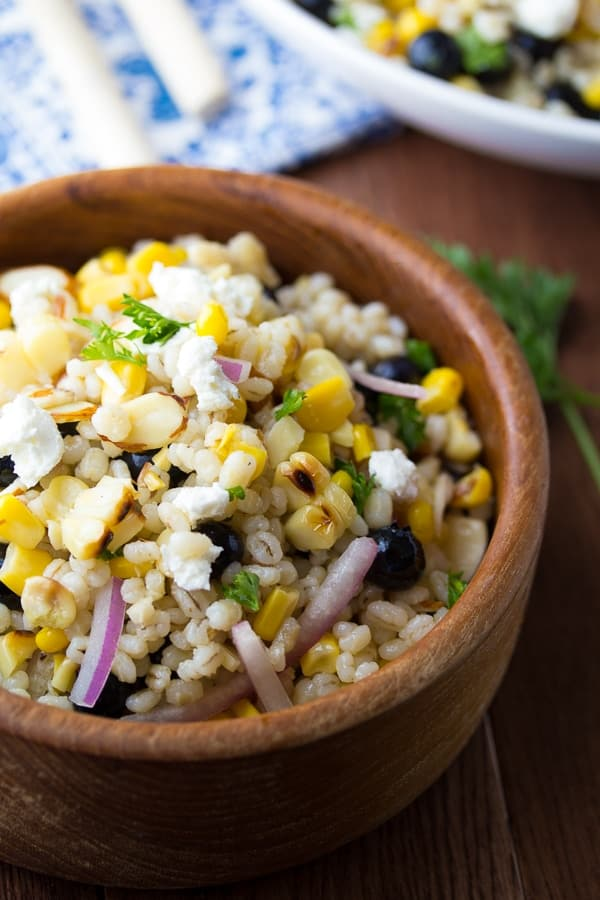 Grilled Corn and Barley Salad with Blueberries and Goat Cheese-2