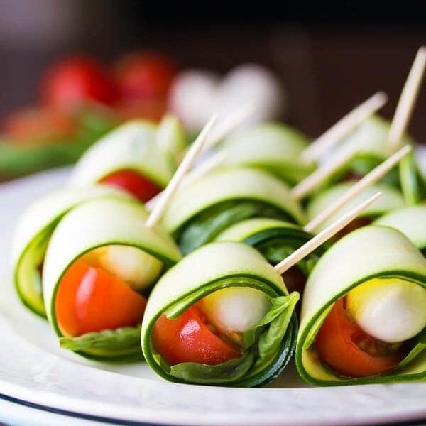 grilled zucchini caprese roll ups