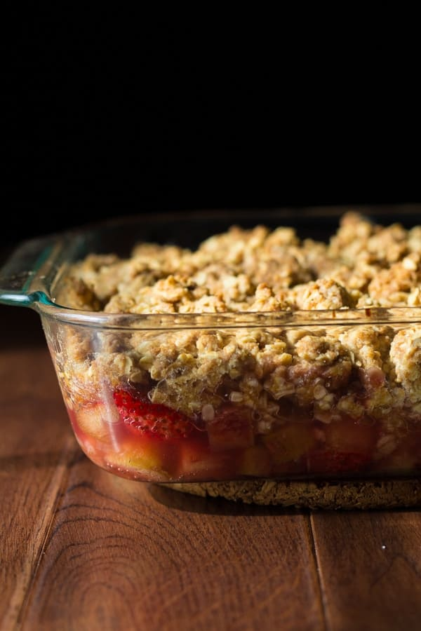 Strawberry Rhubarb Crisp with Oatmeal Cookie Streusel | sweetpeasandsaffron.com @sweetpeasaffron