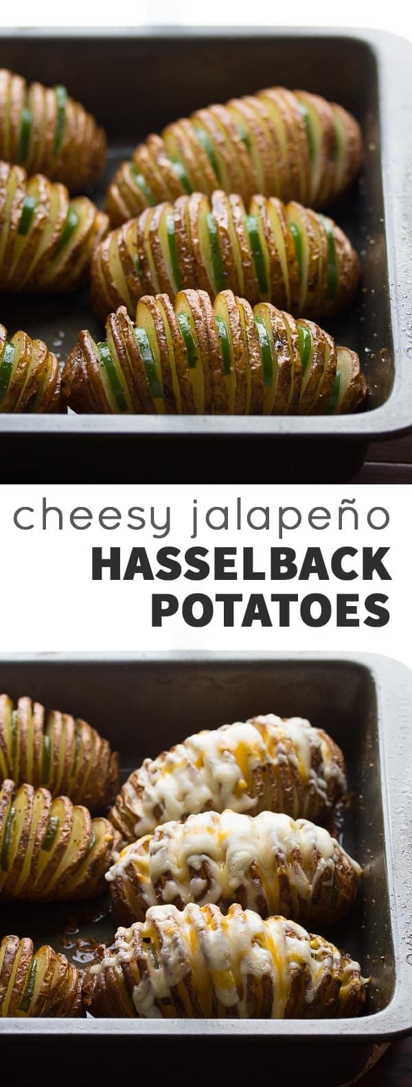 Cheesy Jalapeño Hasselback Potatoes with Avocado Cream Sauce | @sweetpeasaffron