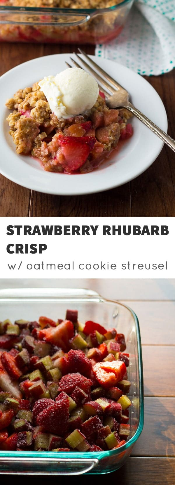 An oatmeal cookie streusel takes the old strawberry-rhubarb crisp to a whole new level! Best served warm with a scoop of vanilla ice cream.