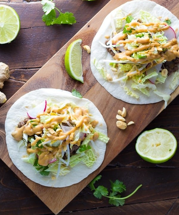 Asian Tacos with Ginger Beef and Peanut Sauce (30 minutes)