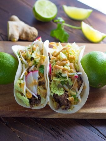 Asian Tacos with Ginger Beef and Peanut Sauce