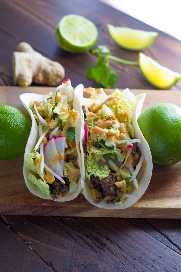 30-Minute Ginger Beef Tacos with Peanut Sauce-7