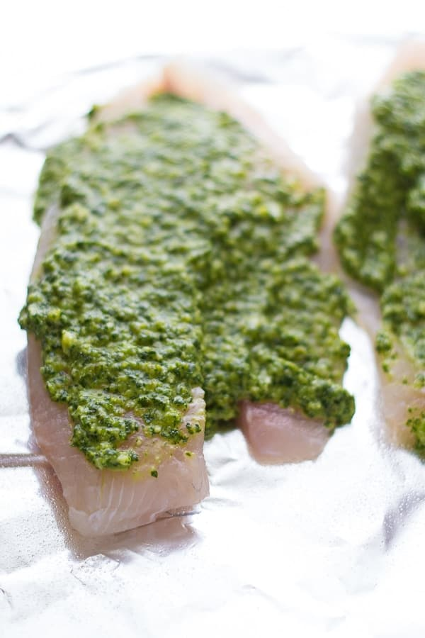 tilapia spread with cilantro jalapeno pesto on foil before grilling