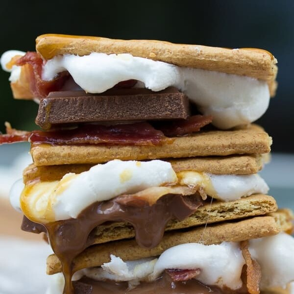 stack of three grilled caramel bacon smores