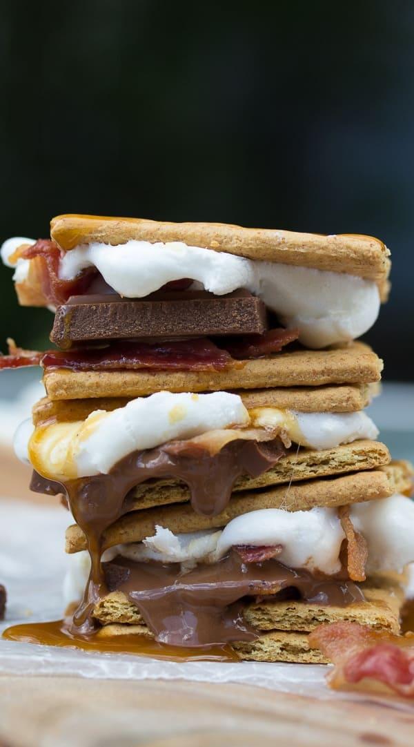 Grilled Caramel Bacon S'mores | sweetpeasandsaffron.com @sweetpeasaffron #LetsMakeSmores #ad