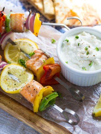 salmon souvlaki skewers with yogurt feta sauce
