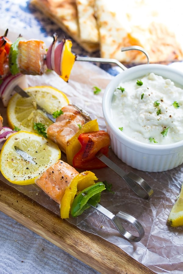 Salmon Souvlaki Skewers with Yogurt-Feta Sauce | sweetpeasandsaffron.com @sweetpeasaffron