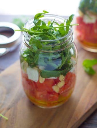 Arugula and Watermelon Salad in a Jar