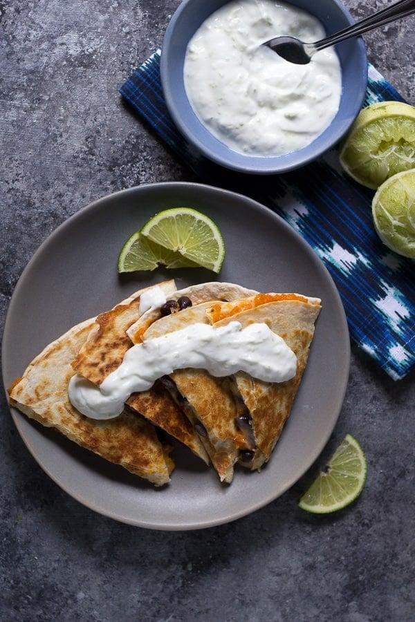 Chipotle Sweet Potato Quesadillas with Lime Yogurt