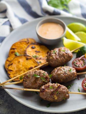 Thai Beef Kofta Recipe with Coconut Sauce