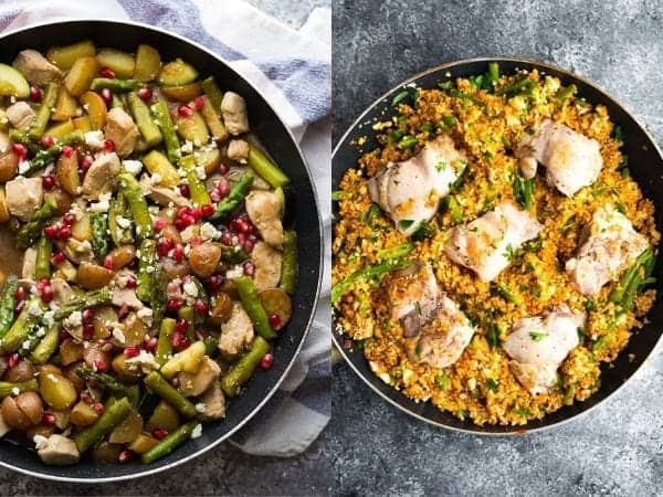 collage image of one pan simple dinner ideas