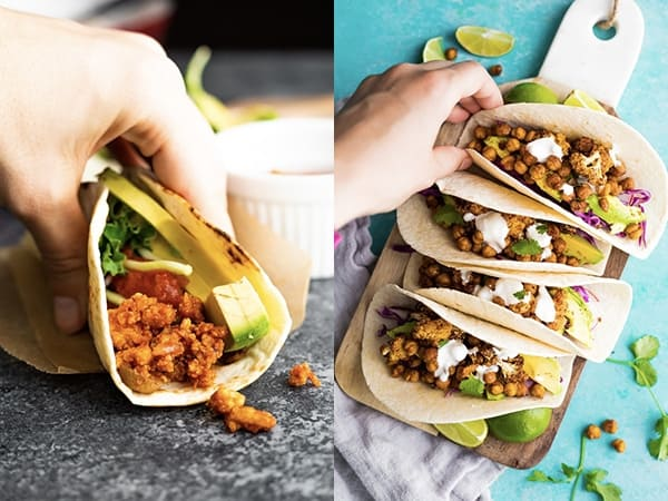 collage image of taco quick dinner ideas