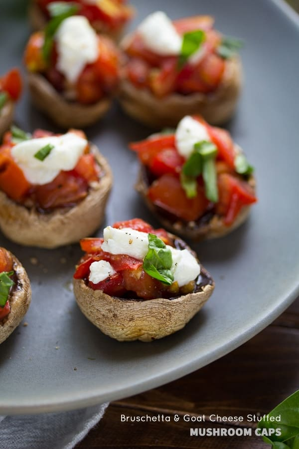 Grilled Mushroom Appetizer with Bruschetta and Goat Cheese