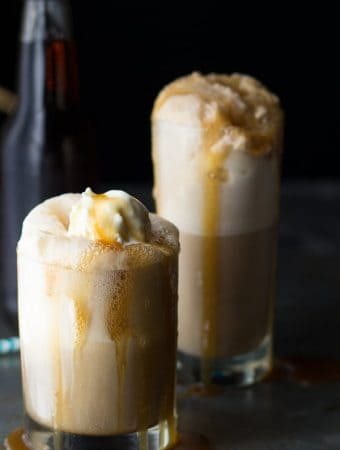 two caramel bourbon root bear floats in glasses
