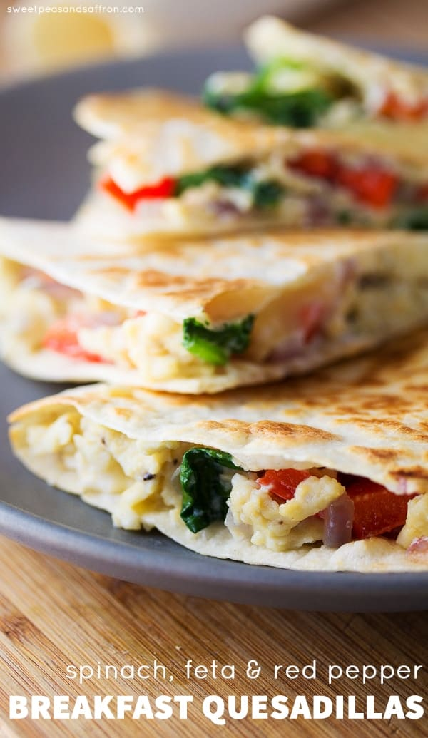Spinach, Feta and Egg Breakfast Quesadillas (Freezer-Friendly)