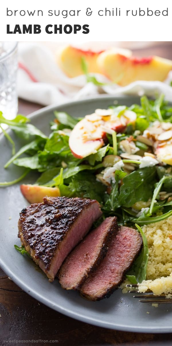Pan-Seared Lamb Chops with Easy Brown Sugar Chili Rub and Peach Arugula Salad, an easy dinner recipe ready in 30 minutes!
